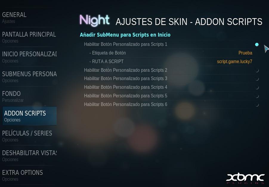 Añadir Scripts al menú principal del Skin NIGHT