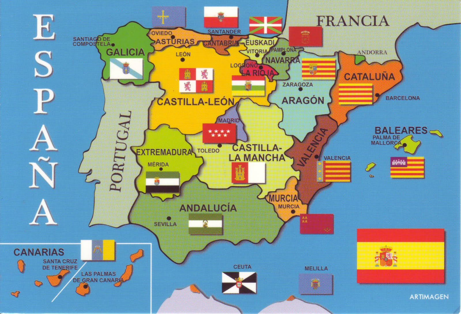 The World in Postcards  Sabines Blog Map of Spain