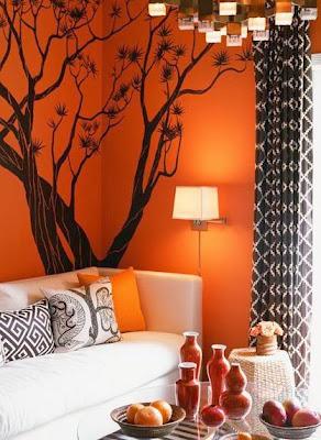 decoração de sala em cor de laranja