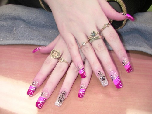 Pink and Clear Large Nail Art