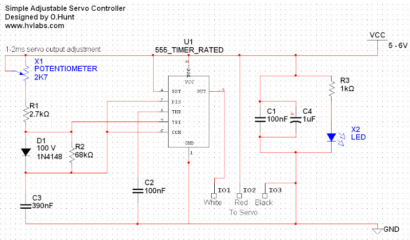 555 timer IC Based Simple Servo Controller