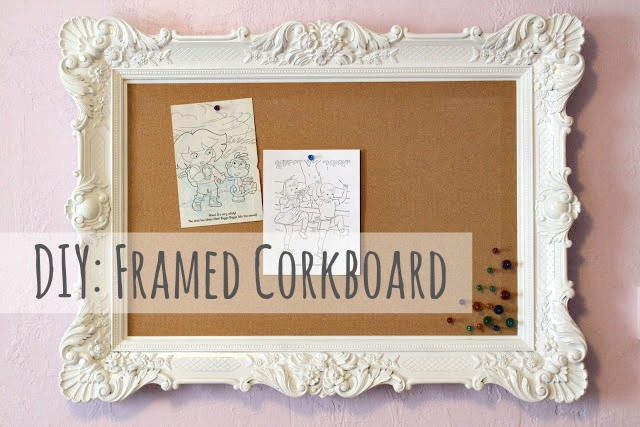 diy framed corkboard wall decor