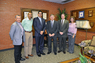 CMIT and the College of Criminal Justice hosted a delegation from the Dominican Republic. Pictured (l to r) are: Fred Rangel, Rafael Monegro Betemit, Roberto Obando Prestol, Dr. Vincent Webb, Doug Dretke and Monique Keith.