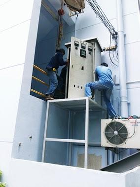 งานย้ายตู้ MDB สูงขึ้น 2เมตร  บริษัท โอเอ็มเอส เรียลเอสเตทจำกัด
