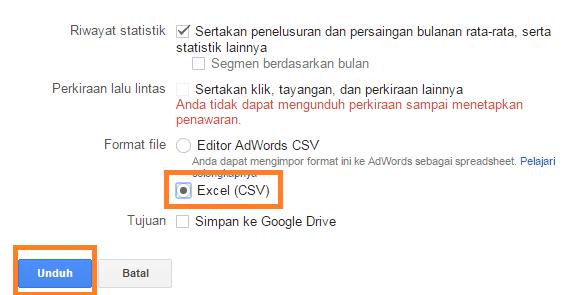 Download kumpulan keyword dalam bentuk CSV