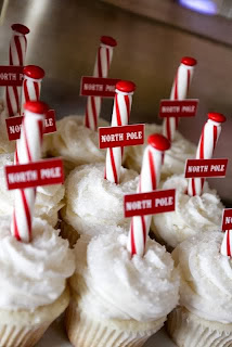 adorable north pole cupcakes, red and white candy canes