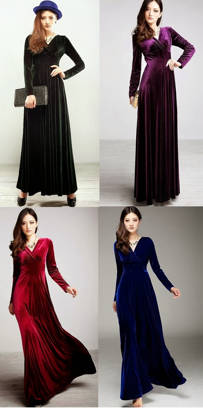 Velvet long-sleeved V-neck Maxi