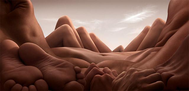 pies, manos y partes del cuerpo humano como paisaje