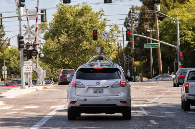 Google self-driving car at some red lights in Mountain View