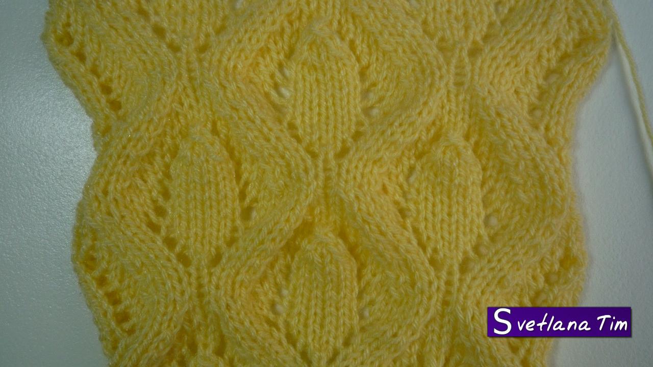 образцы вязания рисунок листочков спицами описание схемы