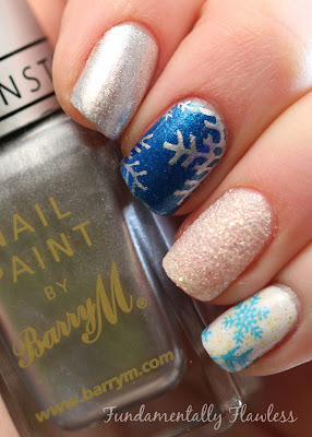 Christmas Snowflake Nail Art with Barry M Silver Foil