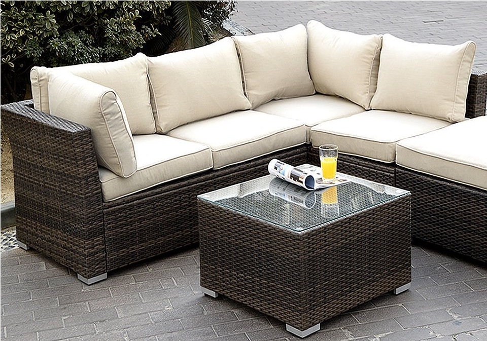 Giantex 6pc Patio Sectional Furniture Pe Wicker Rattan Sofa Set Deck Couch Ou