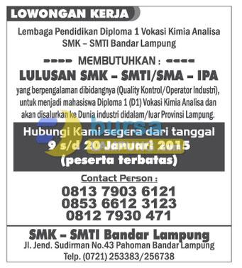 Lowongan Kerja SMK - SMTI Lampung
