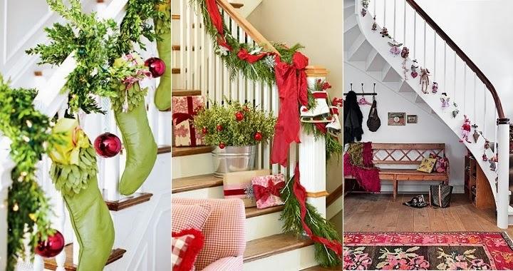 Marzua ideas para decorar una escalera en navidad for Adornos navidenos para escaleras