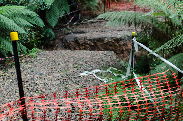 washed away track on dandenong creek track