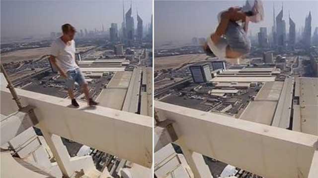 بالفيديو.. شاب روسي يقفز بين أعمدة برج في دبي من دون معدات السلامة