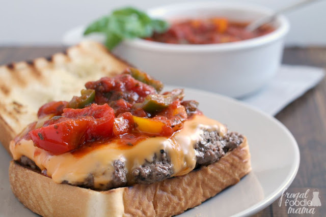 Juicy burgers are topped with sauteed peppers in sauce & American cheese in these easy to make Tuscan inspired Giovanni Burgers. #ad
