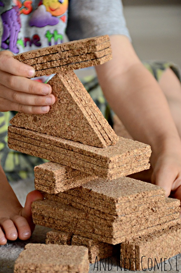 Playing with DIY cork building blocks from And Next Comes L