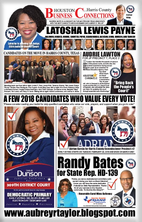 2018 DEMOCRATIC ELECTION DAY PUSH BULLETIN PUBLISHED BY AUBREY R. TAYLOR COMMUNICATIONS