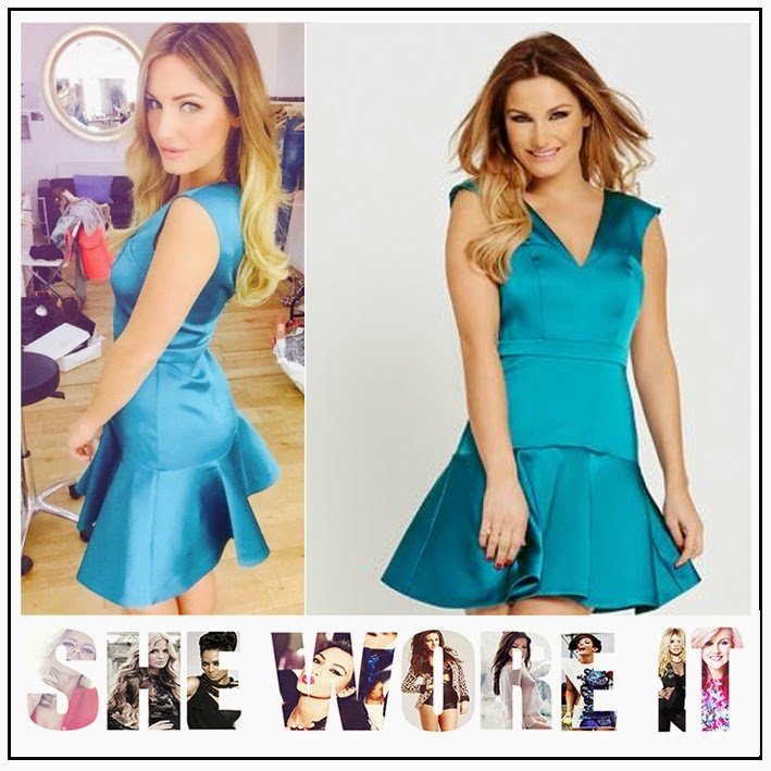 Back Detail, Bright, Celebrity Fashion, Dress, Drop Waist, Faux Satin, Hem Detail, High Shine, Mini Dress, Pleated, Sam Faiers, Samantha Faiers For Very, Sleeveless, Turquoise, V Back, V-Neck, Celebrity Fashion, Celebrity Style,