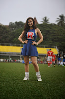 Elli Avaram Spicy Blue Cheerleader Mini Skirt Dress at Ira Khan Charity Football Mumbai
