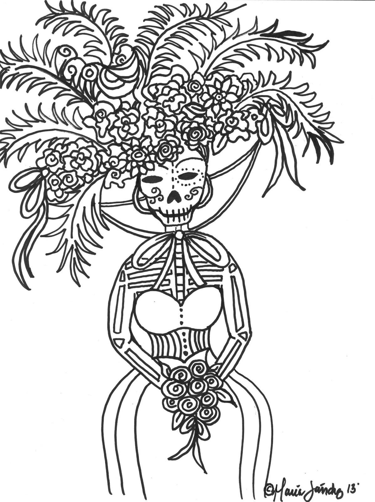 maria sanchez dia de los muertos freebie coloring