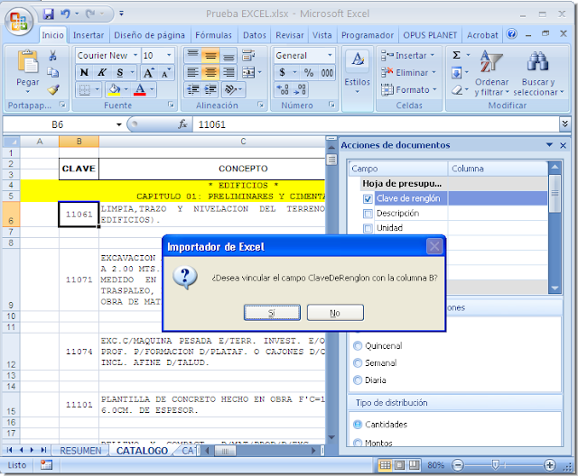 Opus Planet 004 importar obra (catalogo de conceptos) de Excel a Opus Planet