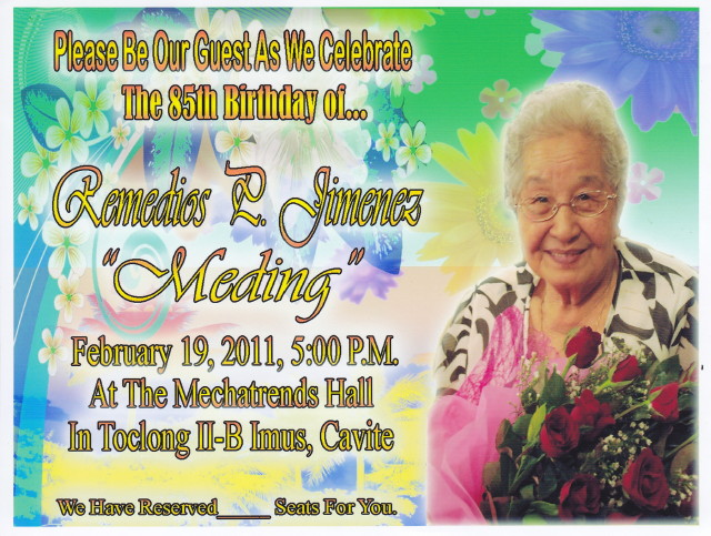 Lola Medios 85th Birthday Invitation