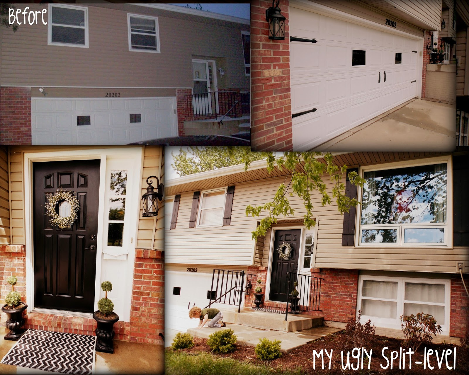 My ugly split level inexpensive curb appeal for Updating a split level home