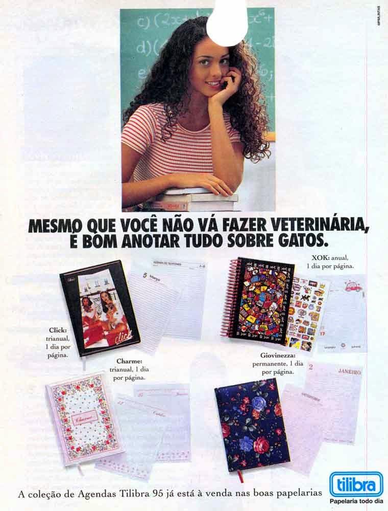 Propaganda da Agenda Tilibra. Produto voltado para jovens, em 1995.