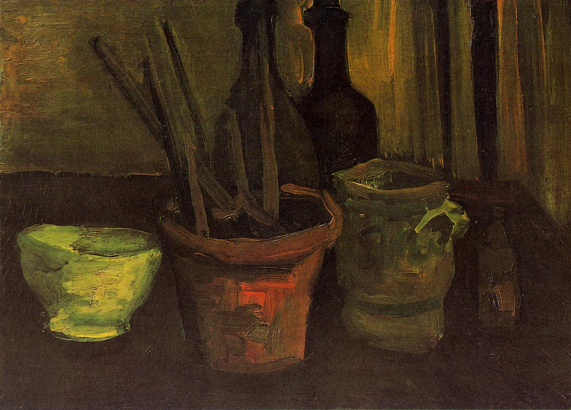Still Life with Paintbrushes in a Pot (F 60, JH 540) by Vincent van Gogh