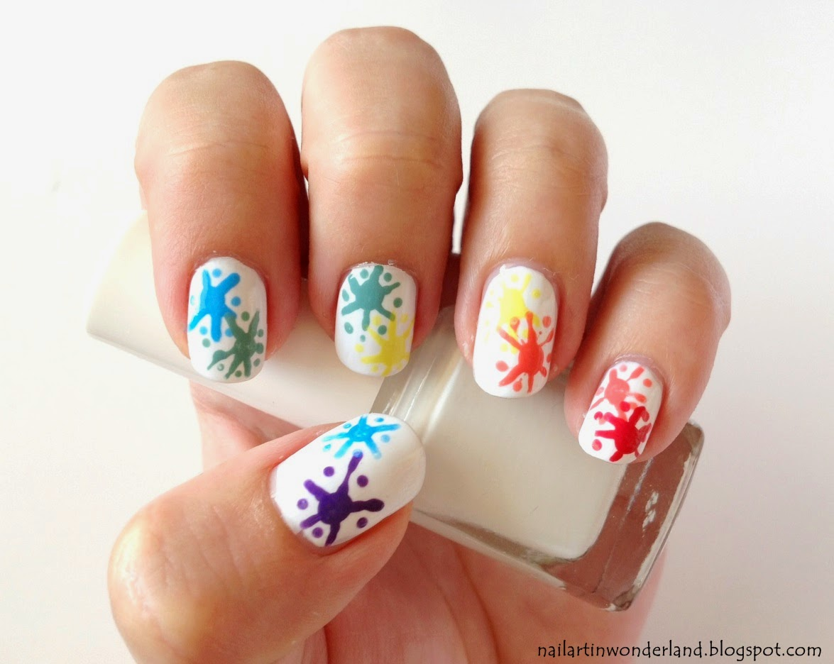 Rainbow splash nail art