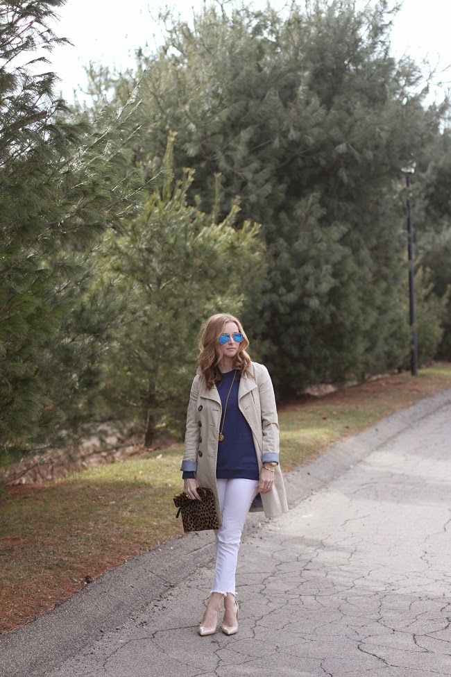 trench coat, jcrew sweater, free people jeans, kate spade heels, ray ban sunglasses, julie vos necklace, clare v clutch