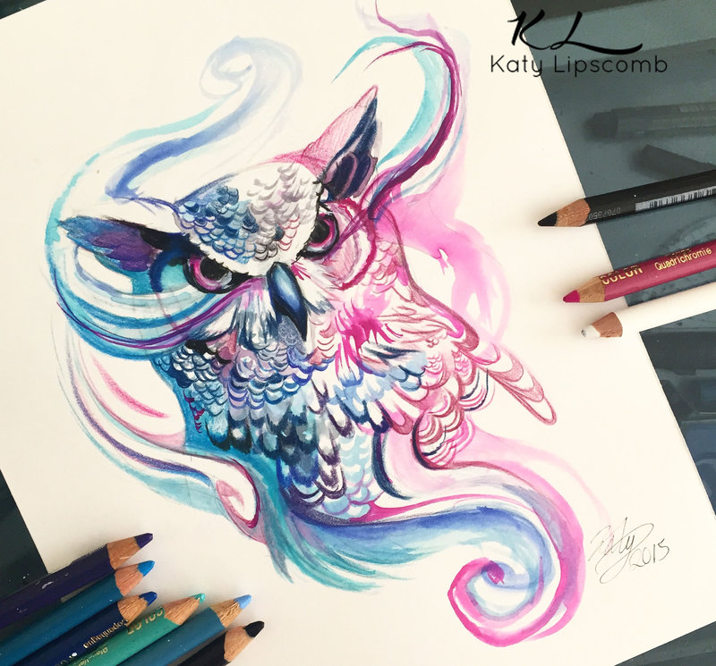 10-Owl-Katy-Lipscomb-Lucky978-Fantasy-Watercolor-Paintings-Colored-Pencils-Drawings-www-designstack-co
