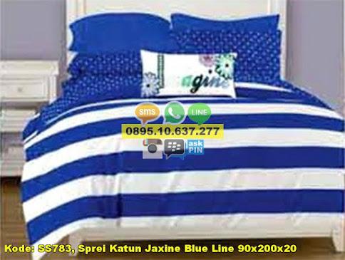 Sprei Katun Jaxine Blue Line 90x200x20