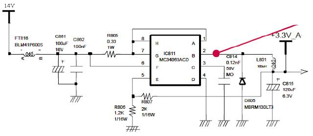 Hình 8b - Mạch ổn áp nguồn 3,3V cấp cho CPU.