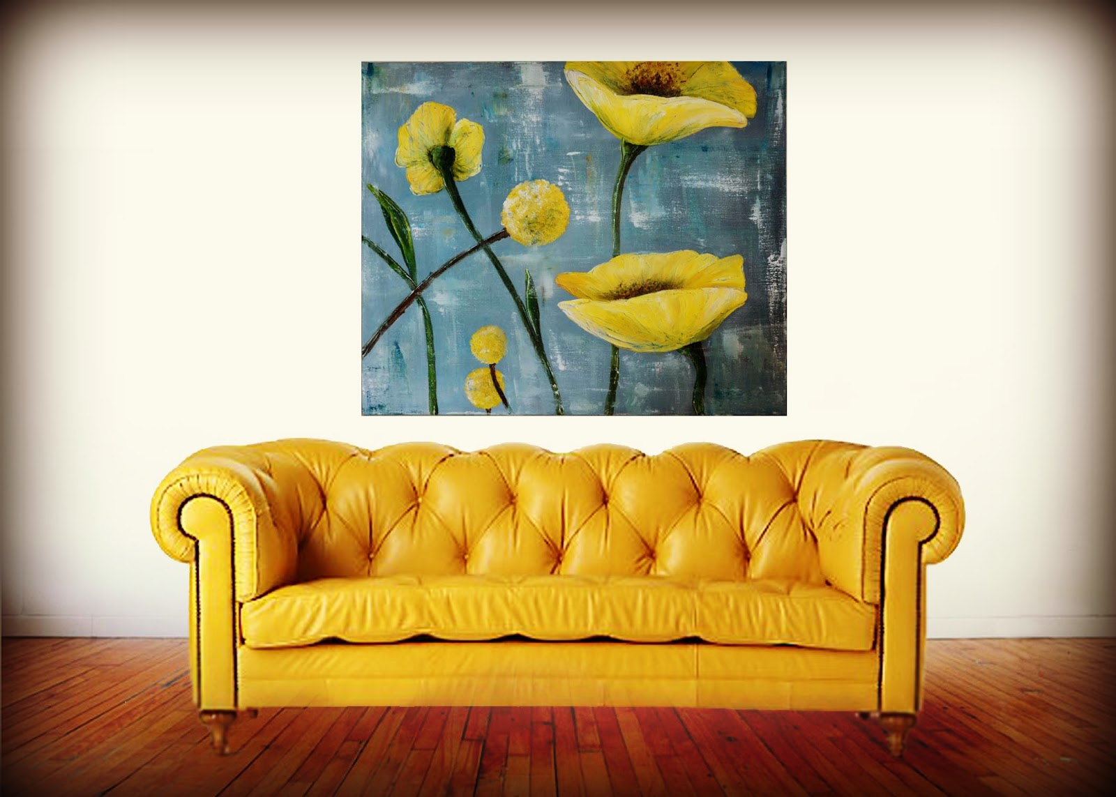 Palette Knife Painting Textured Yellow Poppies Theartgirljackie