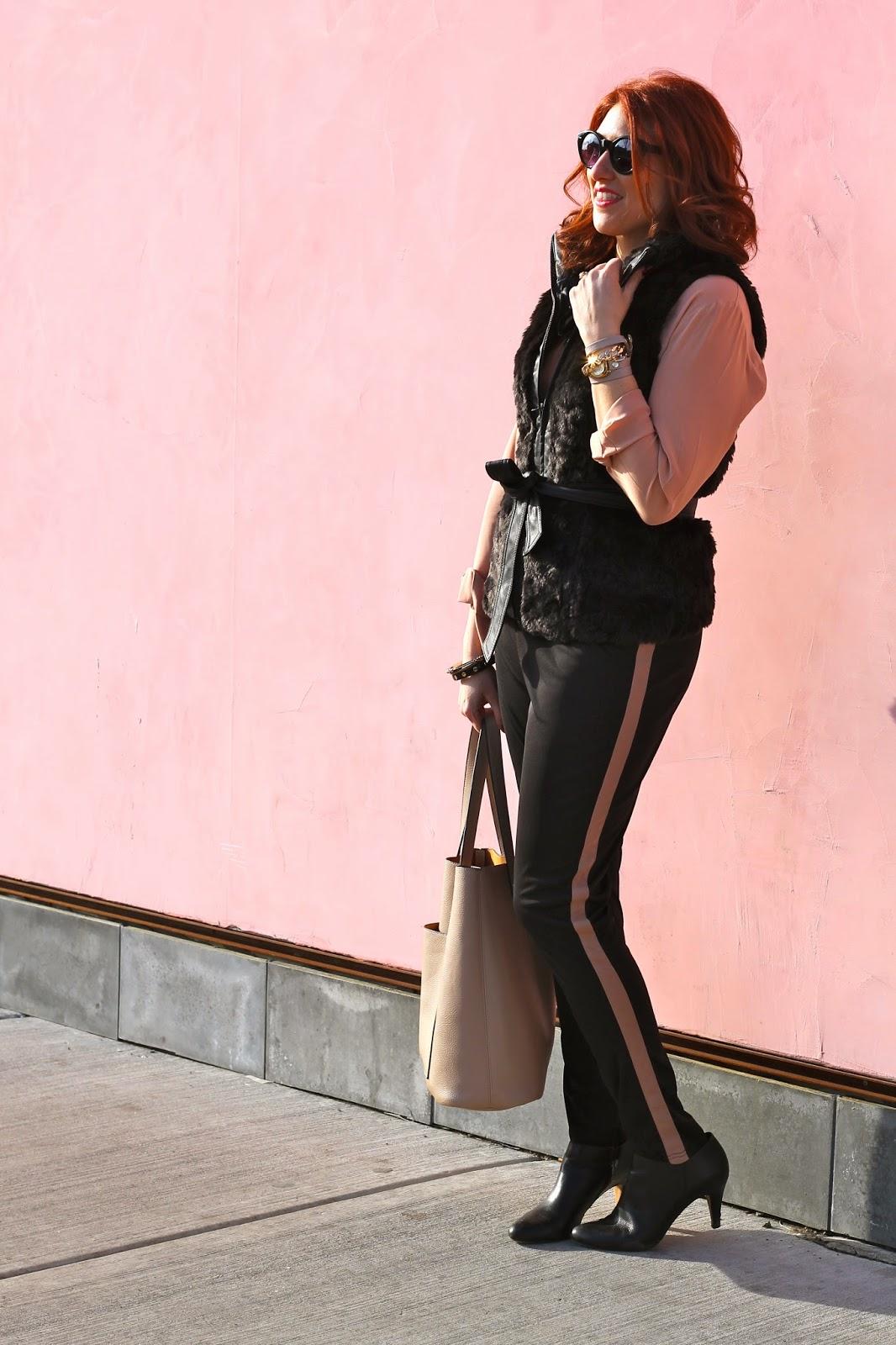 black, vest, fur