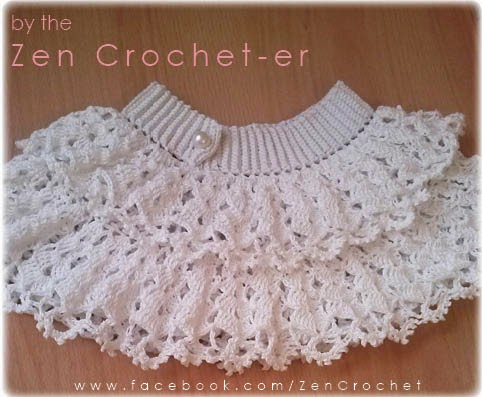 The Zen Crocheter: Crochet ruffled white lace baby girl / toddler skirt