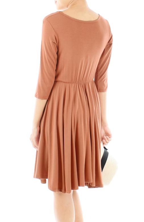 Dip Back Mini Dress with ¾ Sleeves - Cinnamon