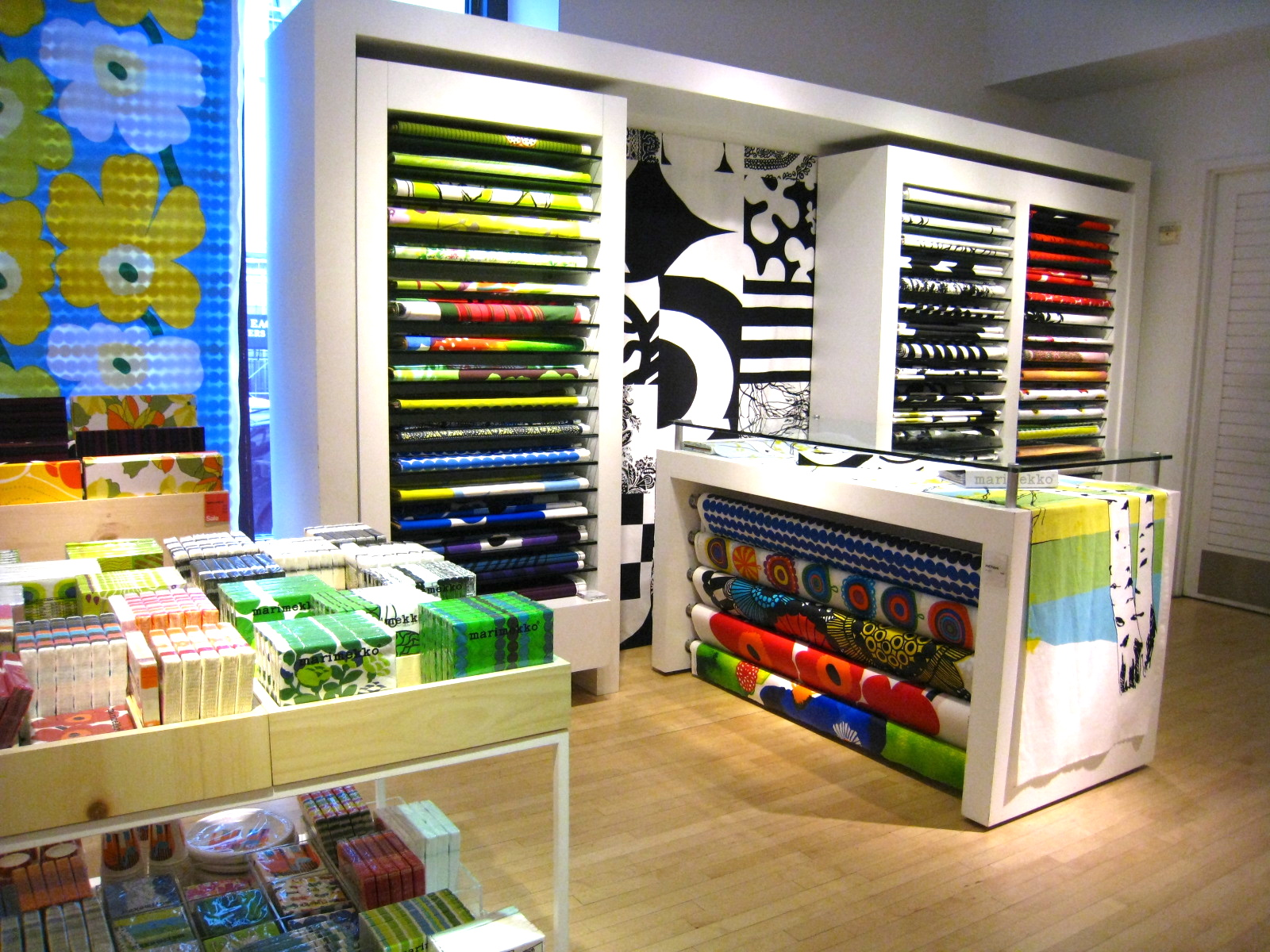 Clearlytangled crate and barrel marimekko store for Designer fabric store