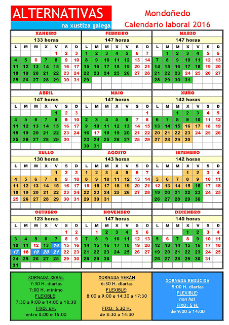 Mondoñedo. Calendario laboral 2016