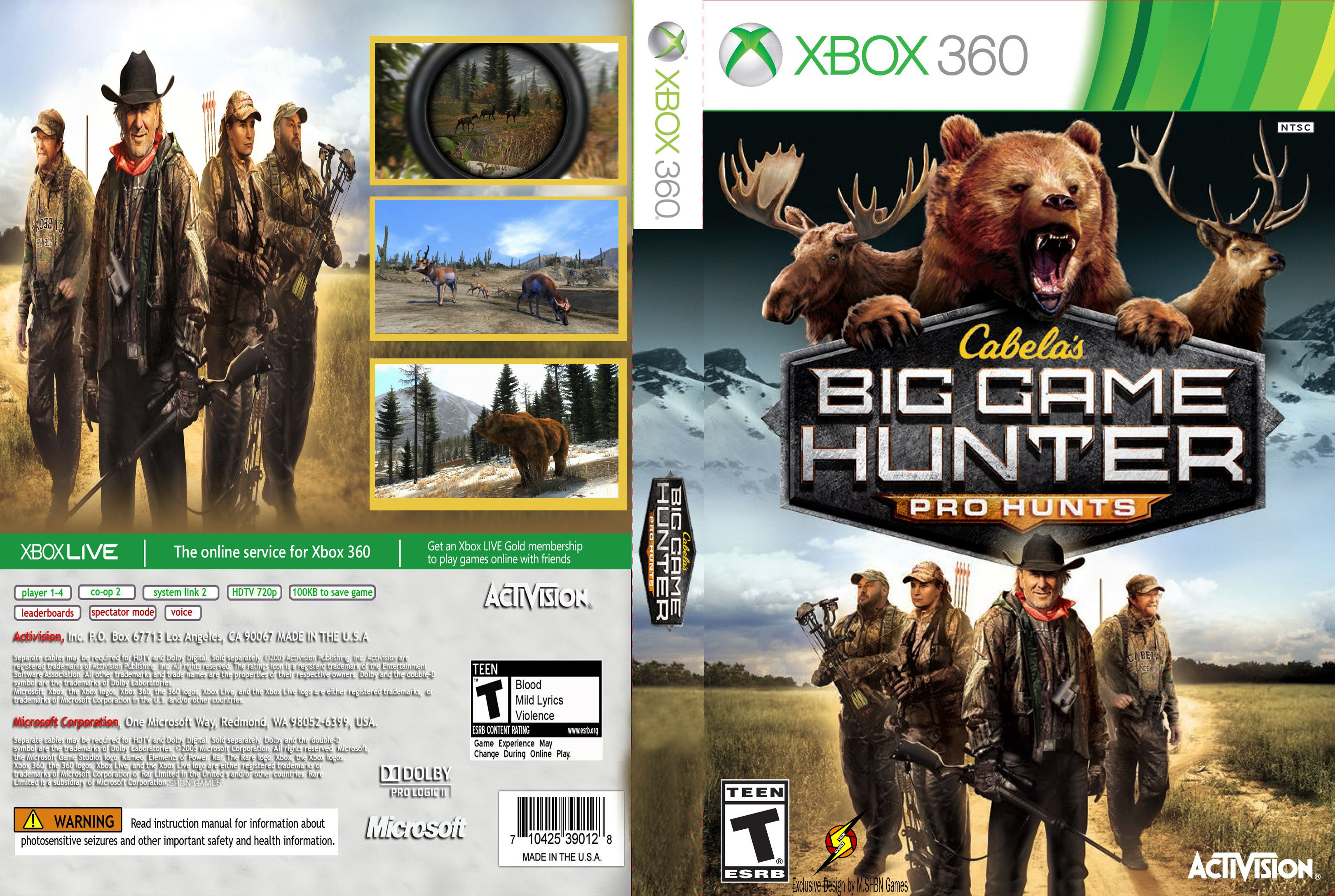 Capa Cabelas Big Game Hunter Pro Hunts Xbox 360