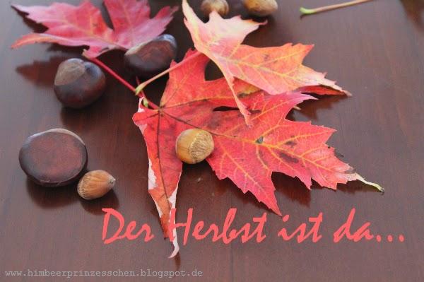 Herbst Blätter Haselnüsse Kastanien