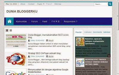 Dunia Blogger, tampilan utuh blog