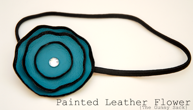 Handmade Painted Retro Leather Flower Headband Tutorial by The Gunny Sack