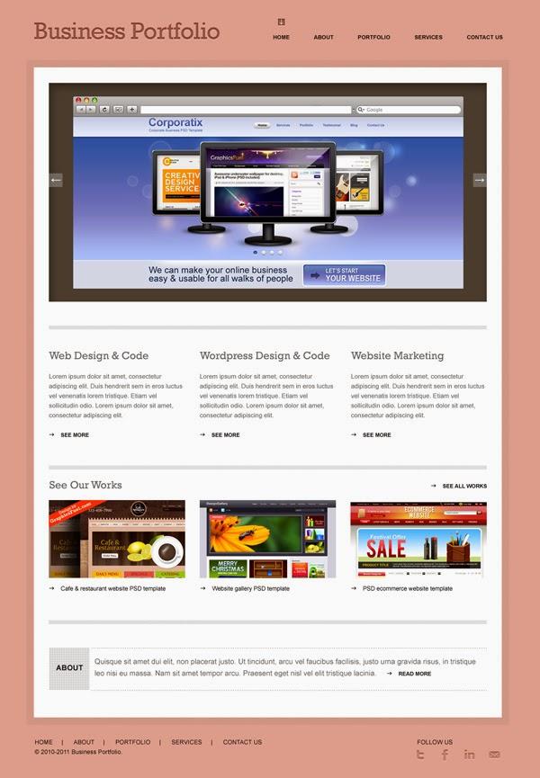 Minimal Business Portfolio Website Template PSD