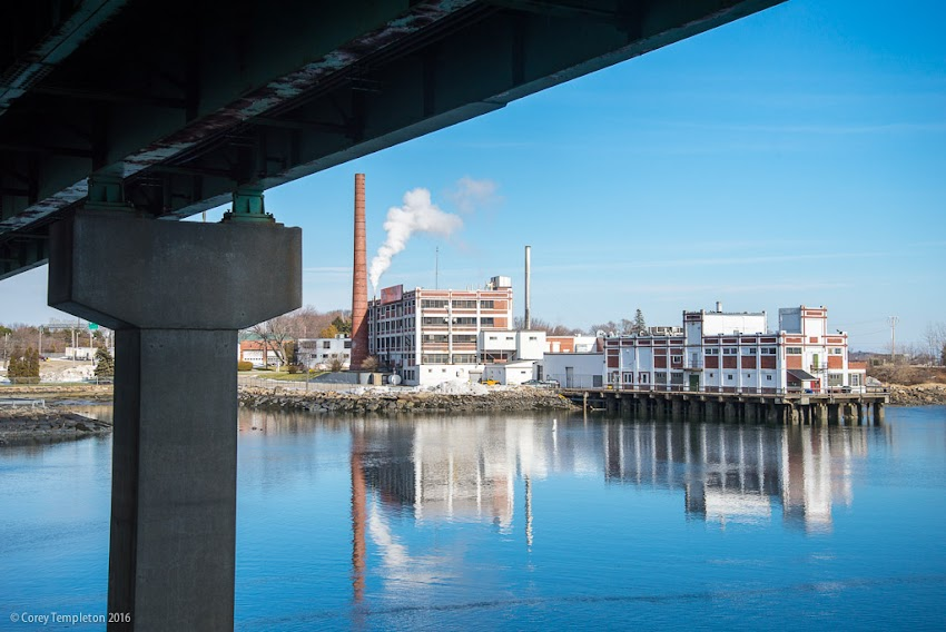 Portland, Maine USA January 2016 photo by Corey Templeton. Blue sky and blue waters beneath Tukey's Bridge looking towards the B&M Baked Beans factory.