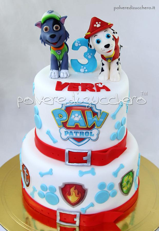 torta decorata paw patrol marshall rocky tridimensionali pasta di zucchero polvere di zucchero cake design