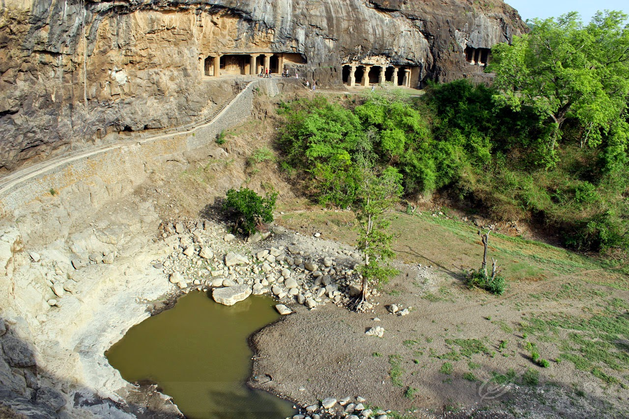 Sita-ka-nahani, at a distance are other cave temples of Ellora